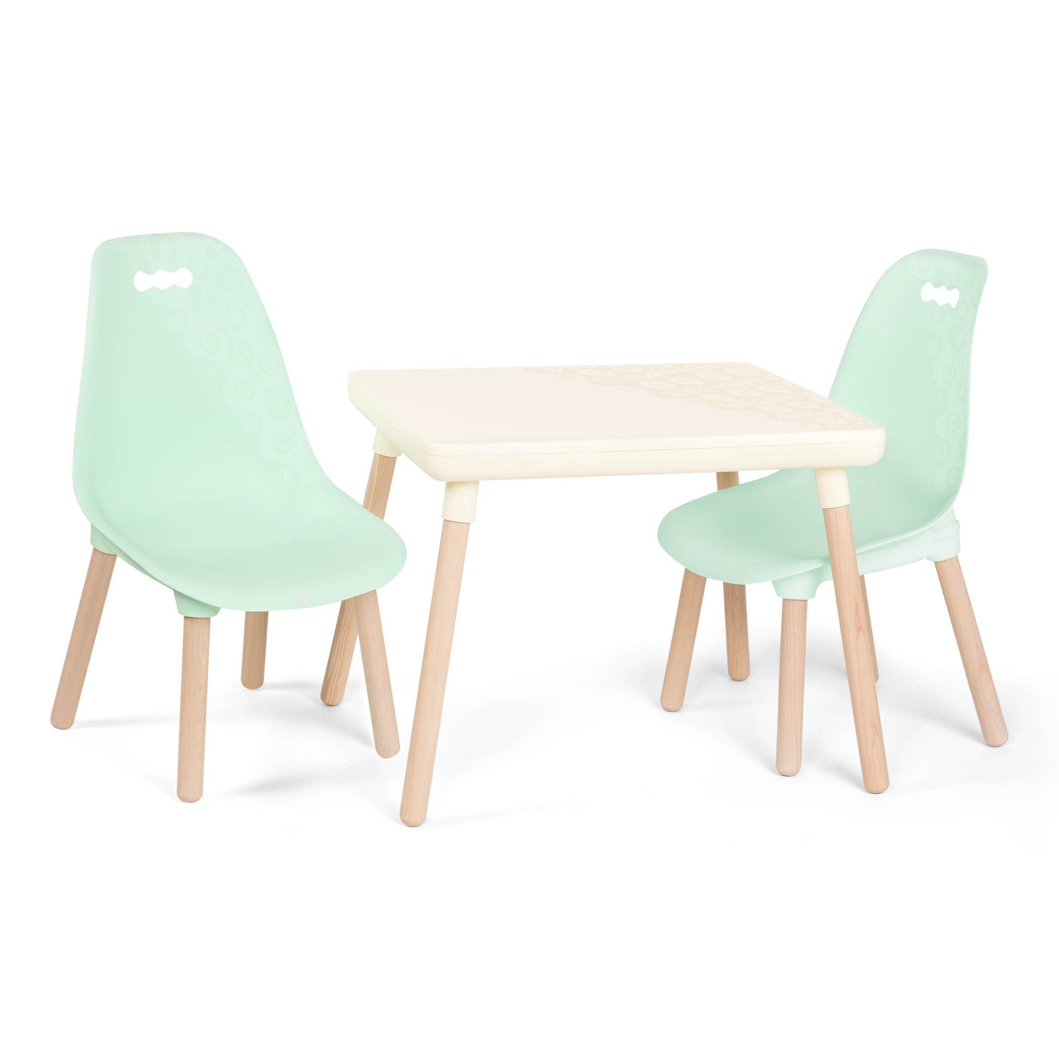B. spaces by Battat – Kid-Century Modern: Trendy Kids Table and Chairs – 1 Table in Ivory and 2 Chairs in Mint – Kids Furniture Set for Toddlers – Ivory and Mint by B. spaces by Battat (Image #1)