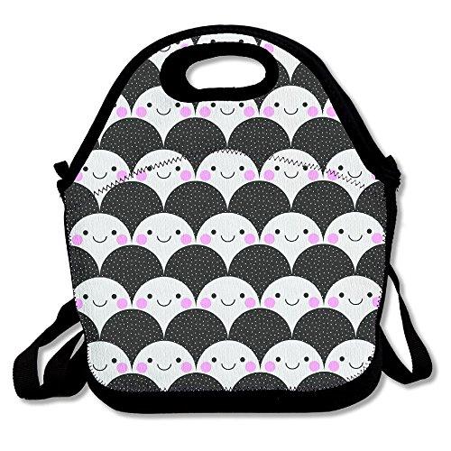 HYEECR Cute Smiling Face Portable Lunch Tote Bags, Takeaway Lunch Box, Outdoor Travel Fashionable Handbag For Men Women Kids Girls