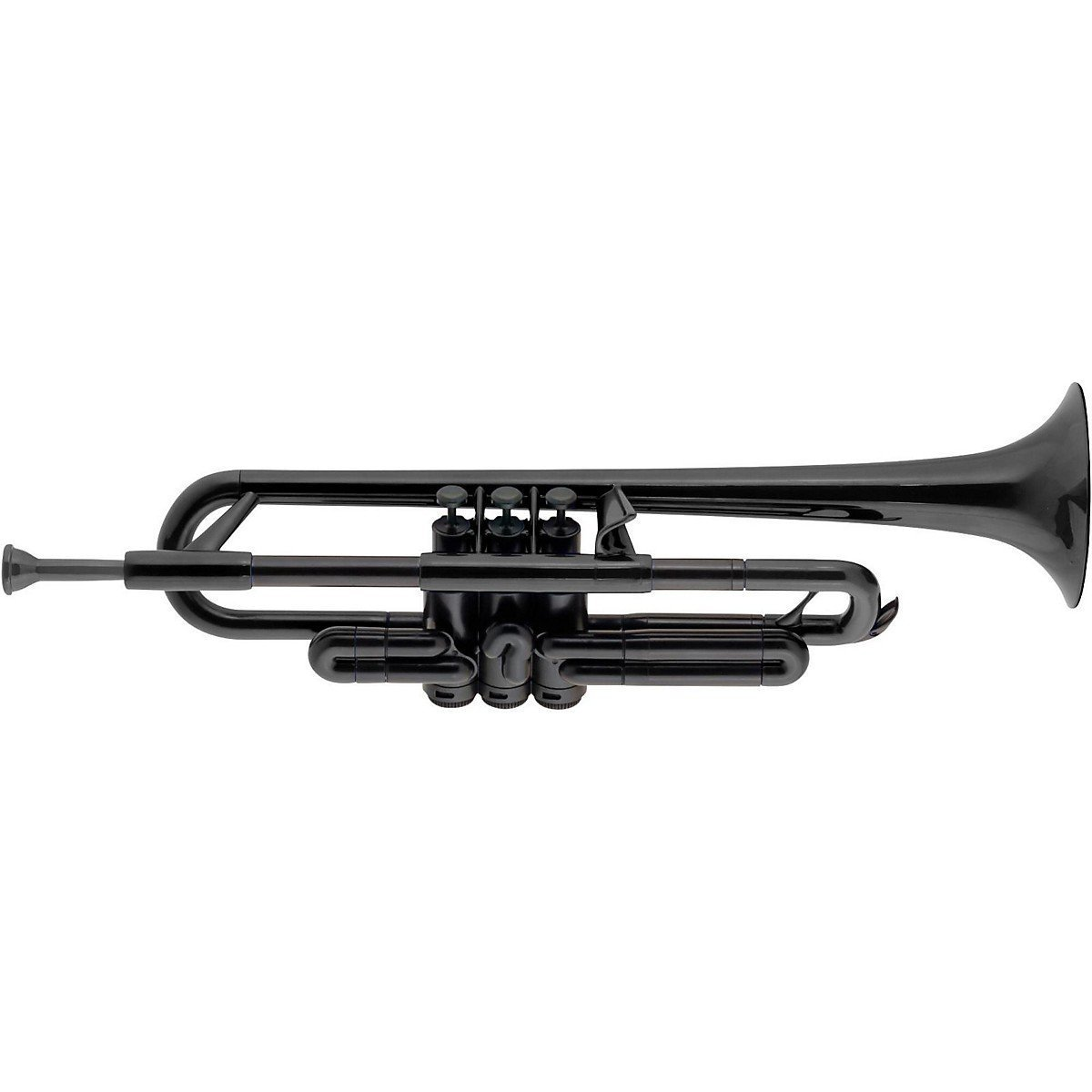pBone PTRUMPET1BLK Jiggs pTrumpet Plastic Trumpet with Gig Bag & 3C & 5C Mouthpieces, Black