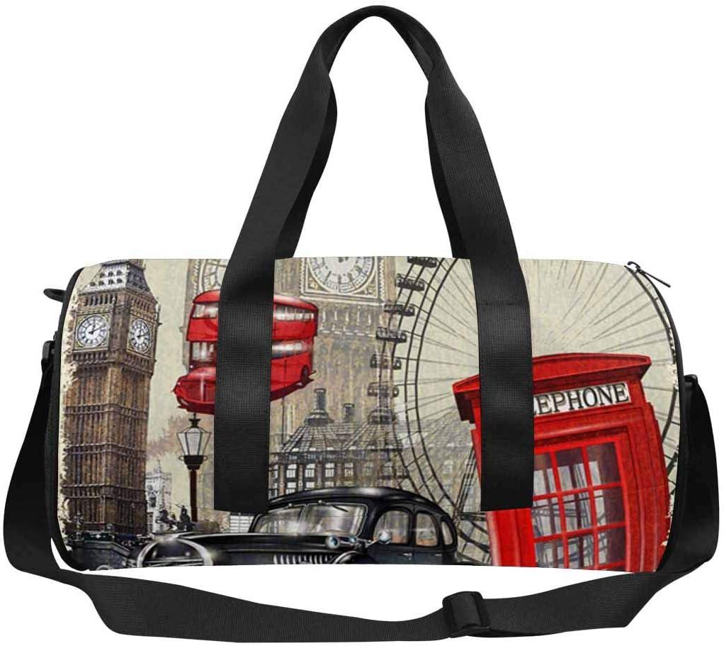 INTERESTPRINT London Vintage Poster Lightweight Carry-on Travel Duffel Bag