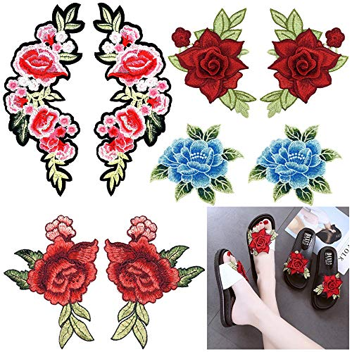 Fabric Rose Floral (3D Flower Applique Patches Lace Floral Rose Embroidered Patches Flower Lace Fabric Embroidery Patches for Dress, Jeans, Clothing, Bags (4 Pairs))