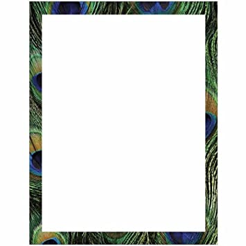 Peacock Print Border Stationery Letter Paper   Wildlife Bird Theme Design    Gift   Business