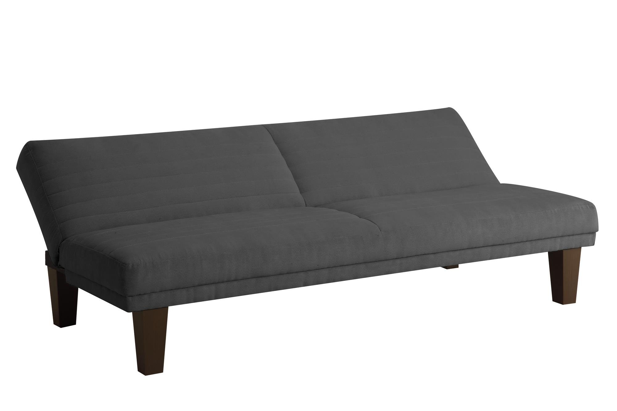 DHP Dillan Convertible Futon Couch Bed with Microfiber Upholstery and Wood Legs - Grey by DHP (Image #3)