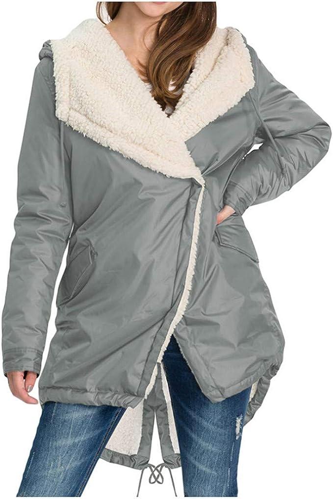 URIBAKE Womens Wool Cardigan Overcoat Plush Hooded Plus Size Loose Winter Warm Casual Coat Outwear