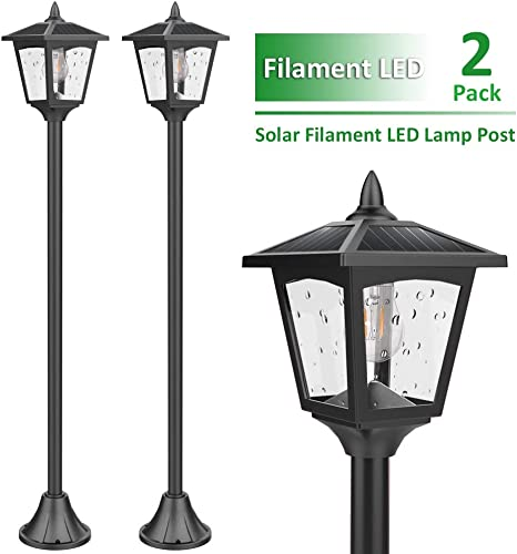 Pair of 2 Black Garden Outdoors Rechargeable Solar Powered Post Lights Lamp New