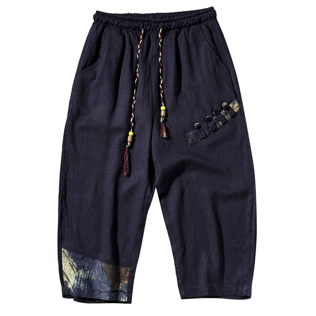 Capri Pants Men,Mosunx Athletic 【Linen Loose Elastic Waist Drawstring】3/4 Baggy Workout Joggers Ninja Harem Shorts (US 33, Navy)
