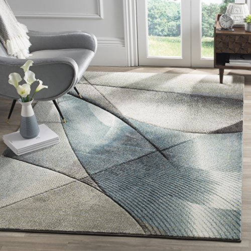 Safavieh Hollywood Collection HLW715D Grey and Teal Mid-Century Modern Abstract Area Rug (8' x 10')