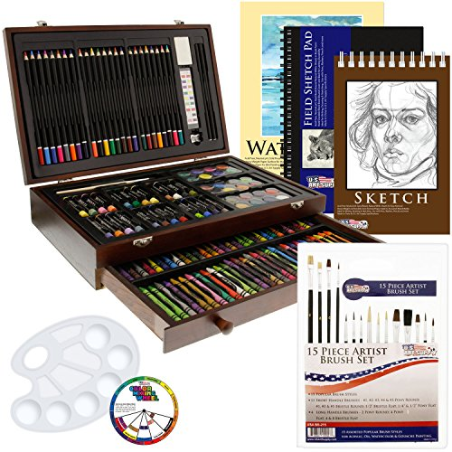 US Art Supply 162 Piece-Deluxe Mega Wood Box Art, Painting & Drawing Set that contains all the additional supplies you need to get started. (Deluxe Art)
