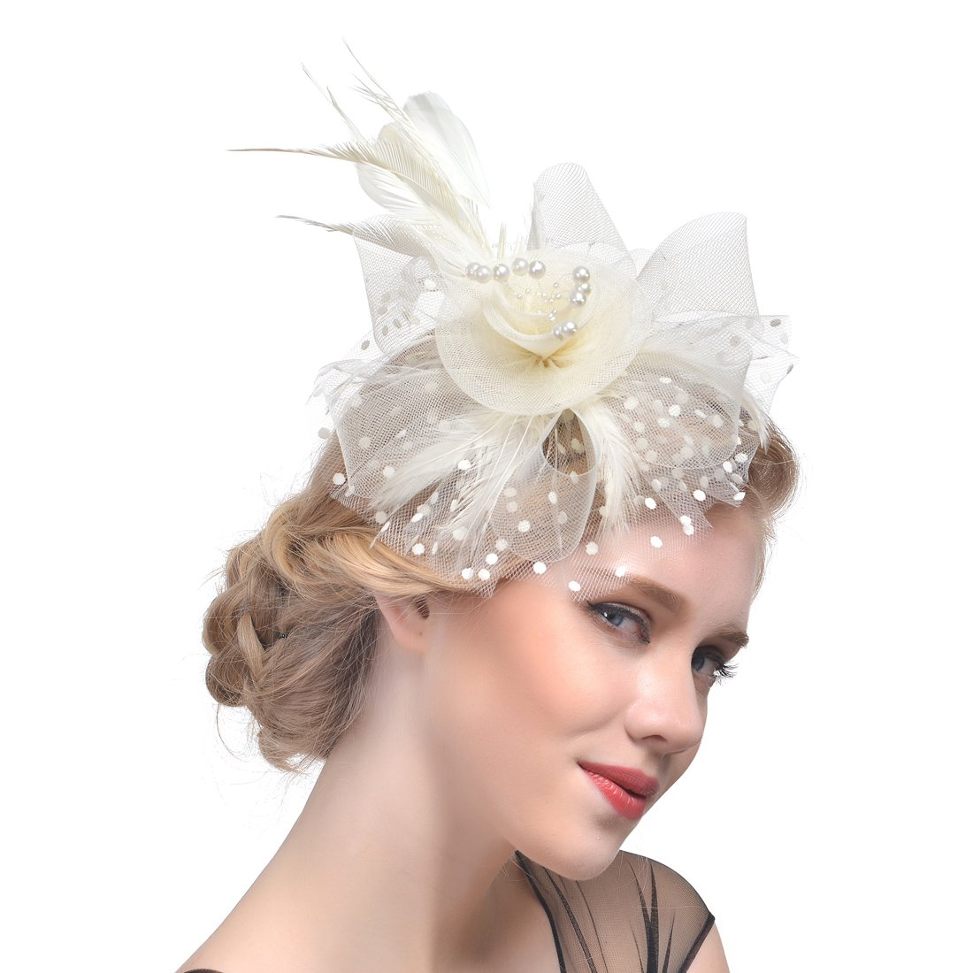 d56d8308 FeiYu Crafts Penny Mesh Hat Fascinator with Mesh Ribbons and Black Feathers