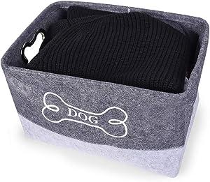 DOZCA Felt Dog Toy Box, Dog Basket with Bone Shaped Metal Handle, Dog Food Storage Bin for Organizing Toys, Leashes, Bandanas and Blankets