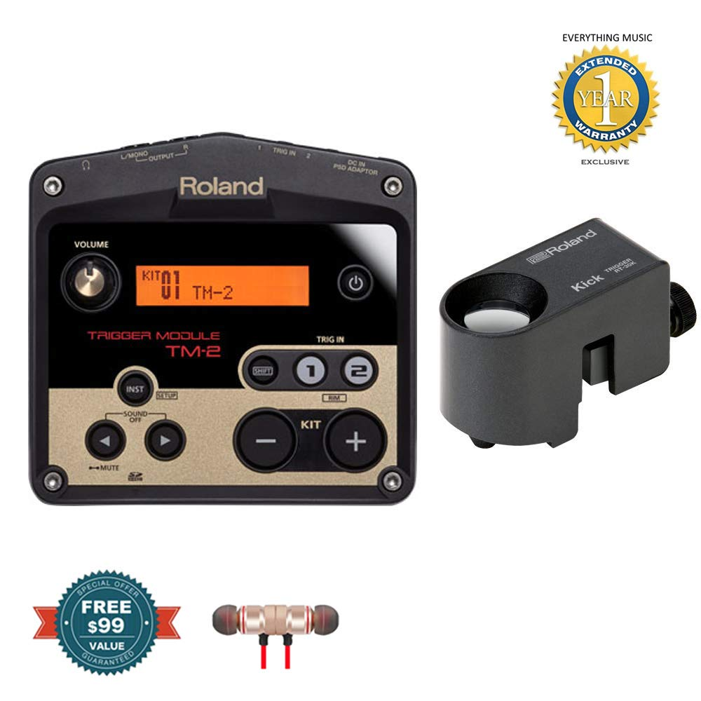 Roland TM2 Trigger Module with RT-30K Acoustic Drum Trigger Bundle includes Free Wireless Earbuds - Stereo Bluetooth In-ear and 1 Year Everything Music Extended Warranty