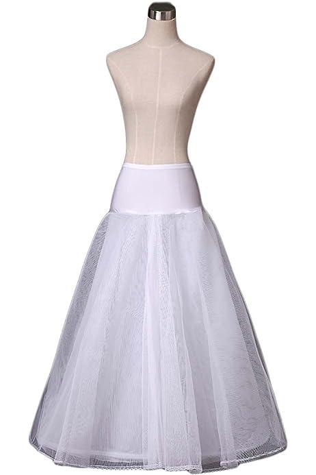 Oyilan Women S Full Lenth 1 Hoop A Line Wedding Petticoat Underskirt Crinoline Slips 9012 White At Amazon Women S Clothing Store