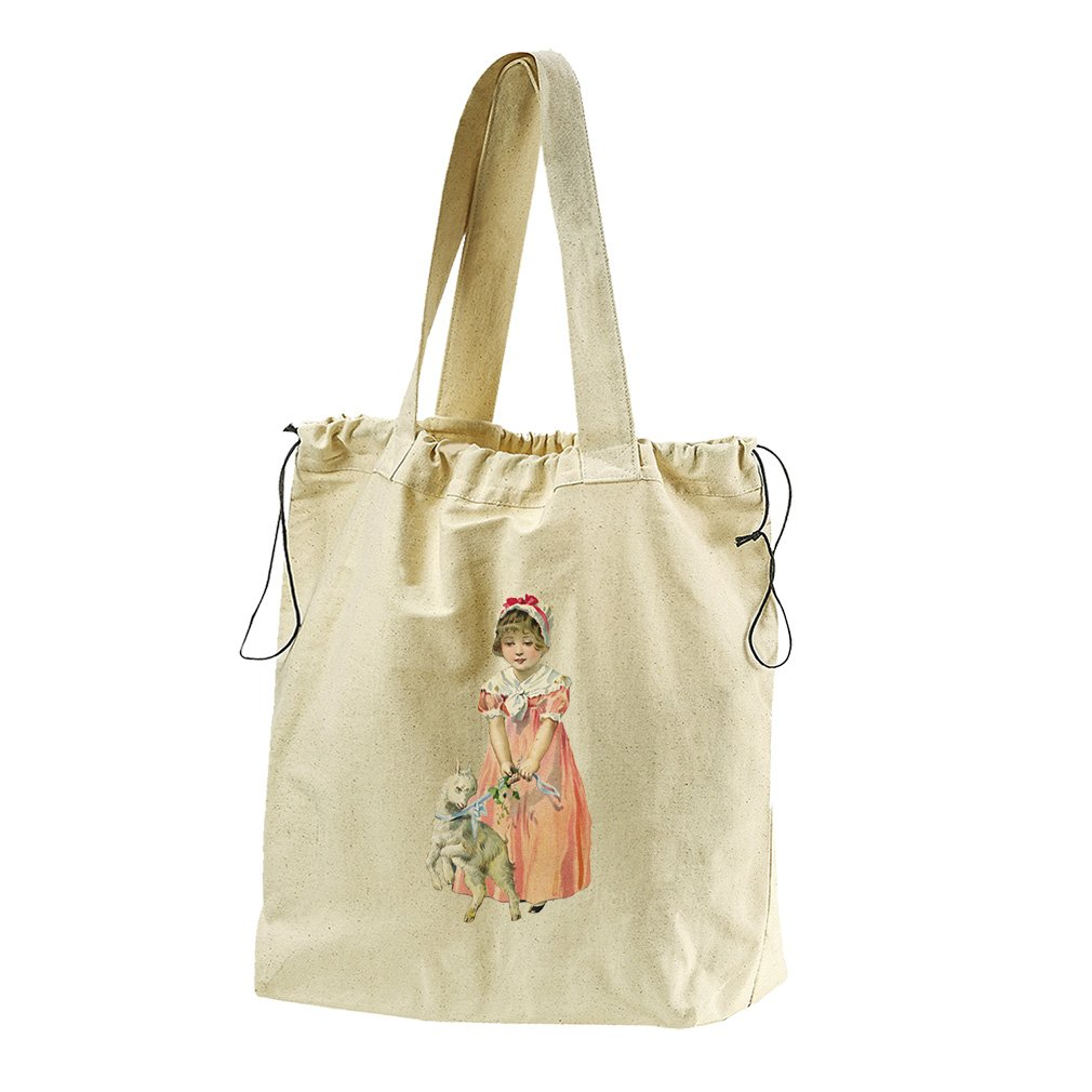 Girl With A Baby Coat Easter Canvas Drawstring Beach Tote Bag
