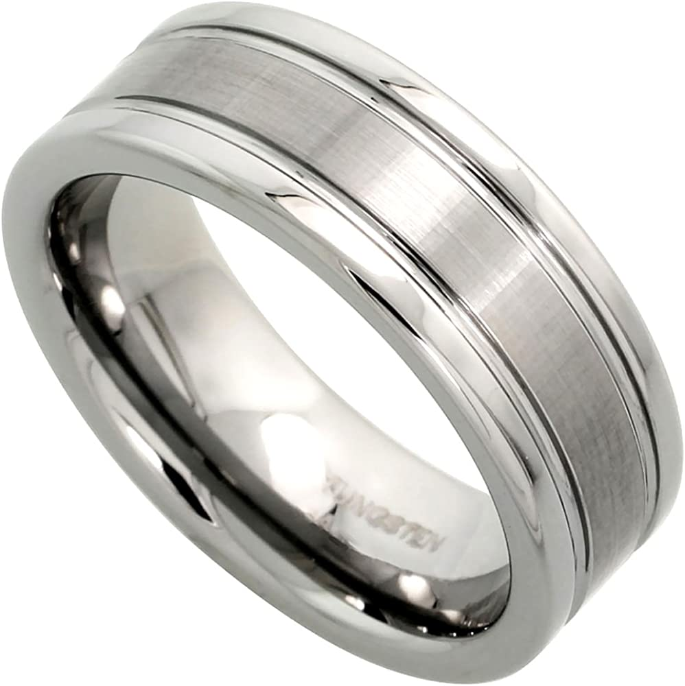 Tungsten Carbide 8 mm Flat Wedding Band Ring Satined Center Grooved Edges, Sizes 7 to 14