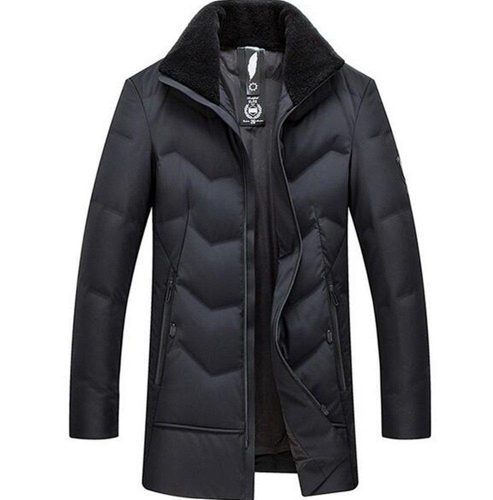 ダウンジャケット メンズ ロングコート ダウンコート 防寒着 保温 ビジネス 通勤 厚手 防風 コート 冬物ブラック&ビリジャン B0793MXJMY 190|ブラック ブラック 190