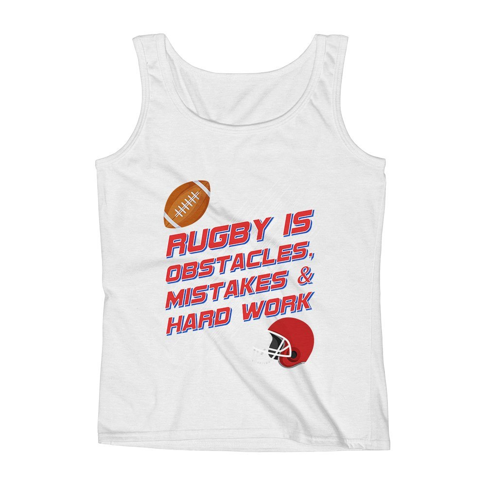 Mad Over Shirts Rugby is Obstacles Mistakes and Hardwork Unisex Premium Tank Top