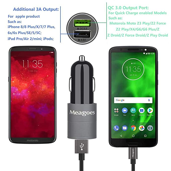 Meagoes Fast Car Charger, Compatible for Motorola Moto Z3 Play/Z2 Force/Z2 Play, X4, G7 Plus/Power/Play/G7/G6/G6 Plus, Z Droid/Force Droid/Play Droid, ...