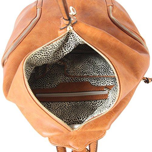 Diophy PU Womens AB Cognac Handbag Side Leather 052 Purse Zipper on Fashion Backpack with Pockets Both qrrTwAd1
