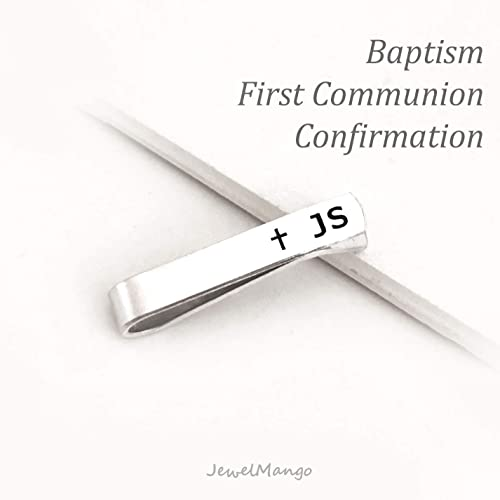 Personalized First Communion Gift, Custom Baptism Gift, confirmation gift, initial tie clip,