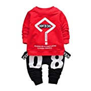 2017 Trendy Toddler Baby Boy Hip-hop Outfits Letter Print Sweatshirt Top+Pants Clothes Set (2T, Red)