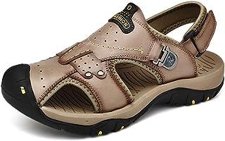 ZANA Sandales pour Hommes été Baotou en Cuir Sandales Romaines en Cuir Chaussures de Plage en Plein air de Grande Taille Respirant