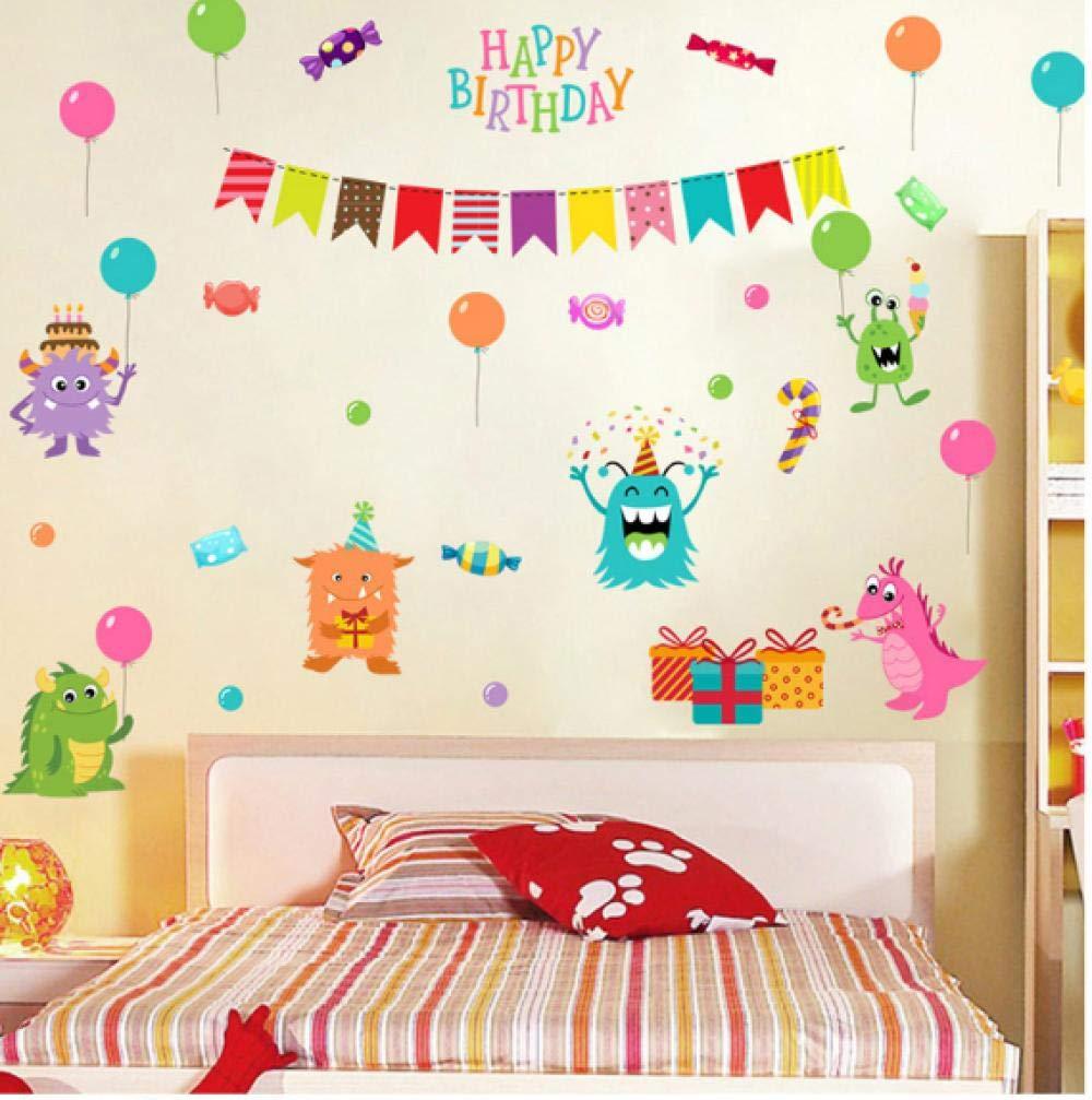 Feliz peque/ño monstruo pegatinas de pared habitaci/ón infantil fondo de jard/ín de infantes decorativos pegatinas de pared