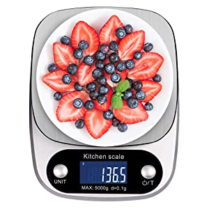 Digital Kitchen Scale NEXT-SHINE K305 11lb 5kg x 0.1g Gram Scale with Large Back-lit LCD Display and Tare Function for Cooking Baking Diets