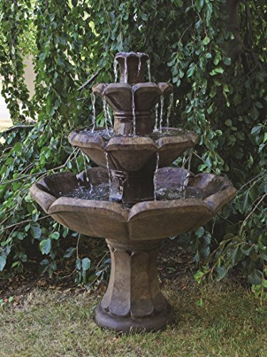 Henri Cast Stone - Henri Studio 5 Piece Montreux 3-Tier Fountain, Relic Lava