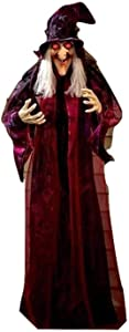 "KNL Store 71"" Life Size Hanging Animated Talking Witch Halloween Haunted House Prop Decor (1)"