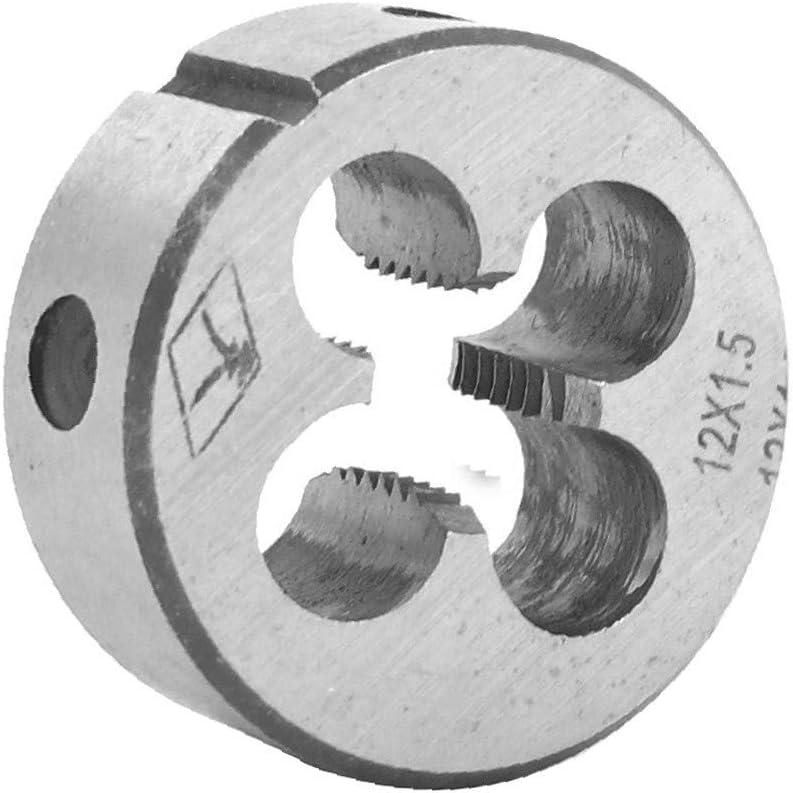 Steel 14mm Thickness Metric M12 x 1.5mm Screw Thread Round Die Tool