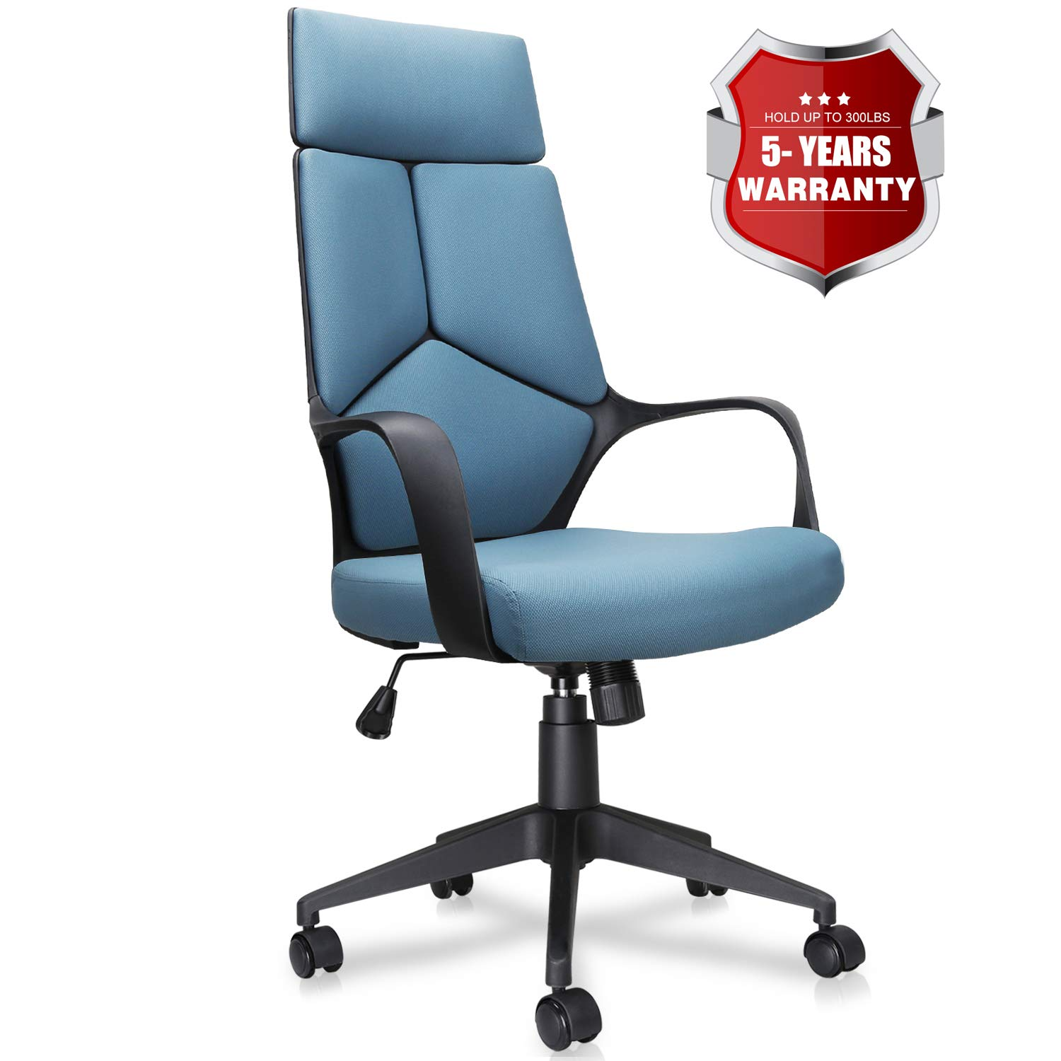 Becozier Mordern Office Chair, High Back Computer Desk Chairs Task Chairs with Detachable Headrest, Adjustable Height, Mesh Cushion for Home and Office Conference Room (Unique Design: Blue)