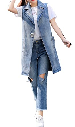614ee540db0bb Runyue Women s Casual Sleeveless Plus Size Lapel Loose Fit Denim Vest Long  Tops Cowboy Jacket Jeans