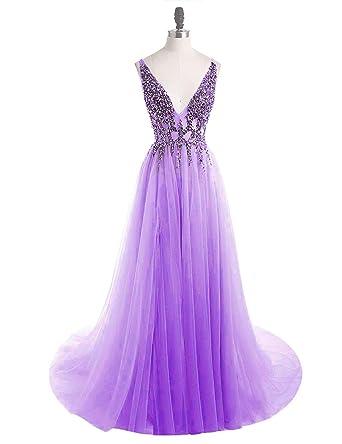 81ac9cce2e9 vimans Long V Neck Prom Dresses 2019 Backless Wedding Bridesmaid Dress Size  2 Lavender