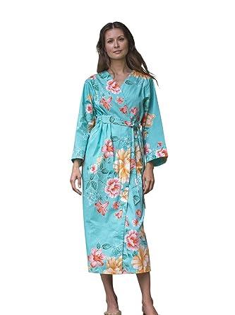 Dynasty Robes Women s Printed Cotton Long Robe With Kimono Collar-Tang  Beauty a12ec6456