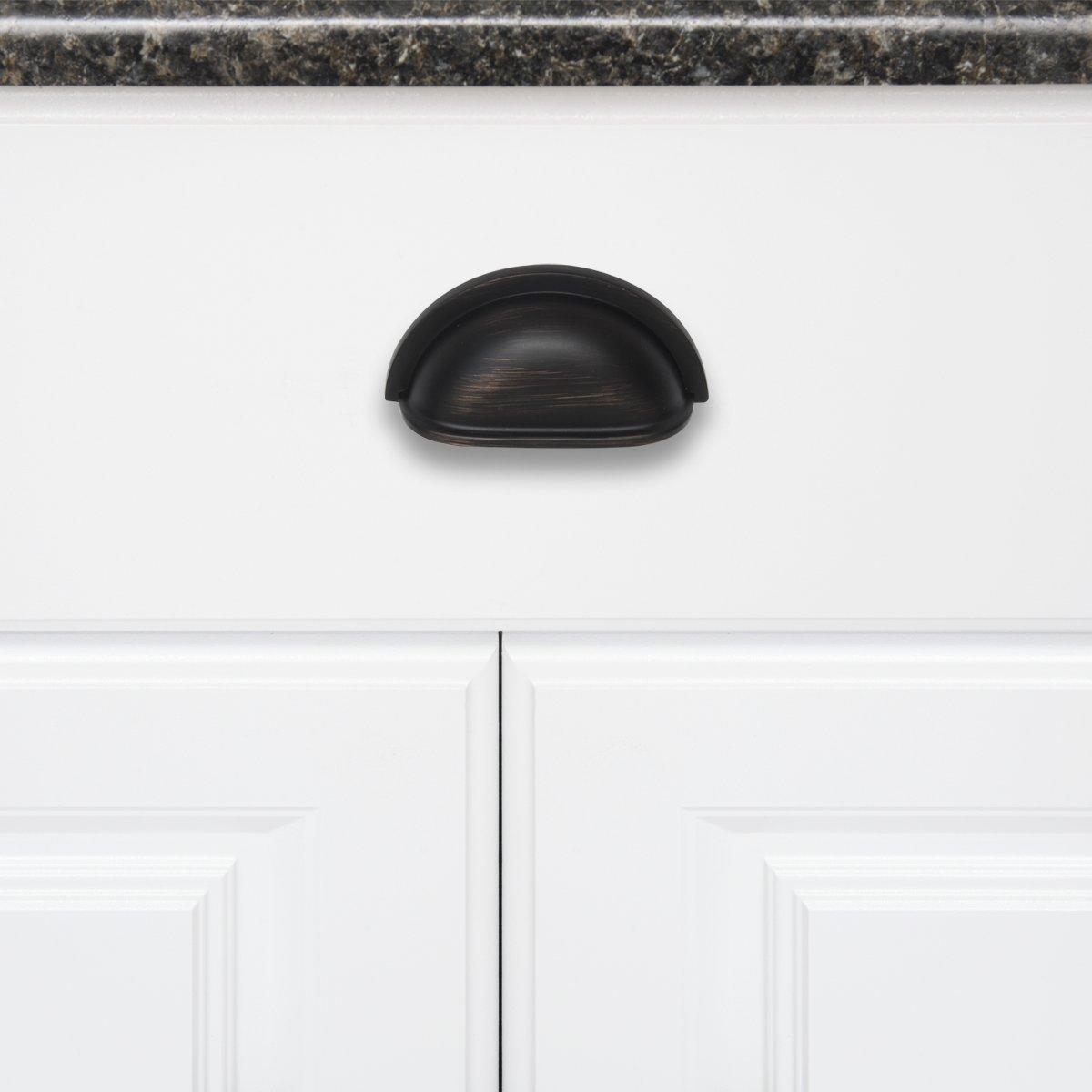 "Modern Bin Cup Drawer Pull 4.13/"" Length 3/"" Hole Center Flat Black 10 Pack"