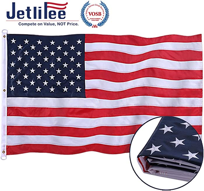 Jetlifee American Flag 8x12 Ft - by U.S. Veterans Owned Biz. Embroidered Stars, Sewn Stripes, Brass Grommets US Flag.Outdoors Indoors USA Flags Polyester 8 x 12 Foot.