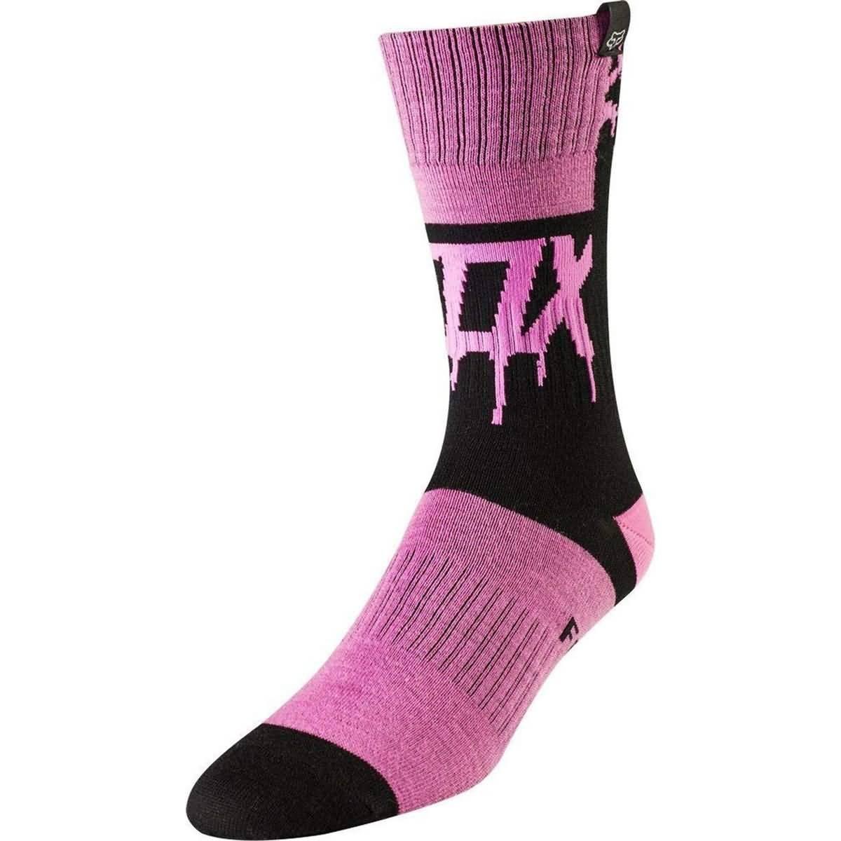 Fox Racing 2019 Girl's MX Socks - Mata Drip (LARGE) (BLACK/PINK) by Fox Racing