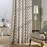 Blackout Lined Curtains Brown Linen Cotton Drapes – Anady 2 Panel Geometric Curtains Living Room Darkening Drapes Grommet 100 inch Long(Customized Available)