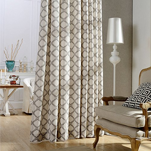 Brown Geometric Linen Curtains Living Room Drapes – Anady 2 Panel Linen Cotton Small Short Curtains Grommet 63 inch Lenght(Customized Available) For Sale
