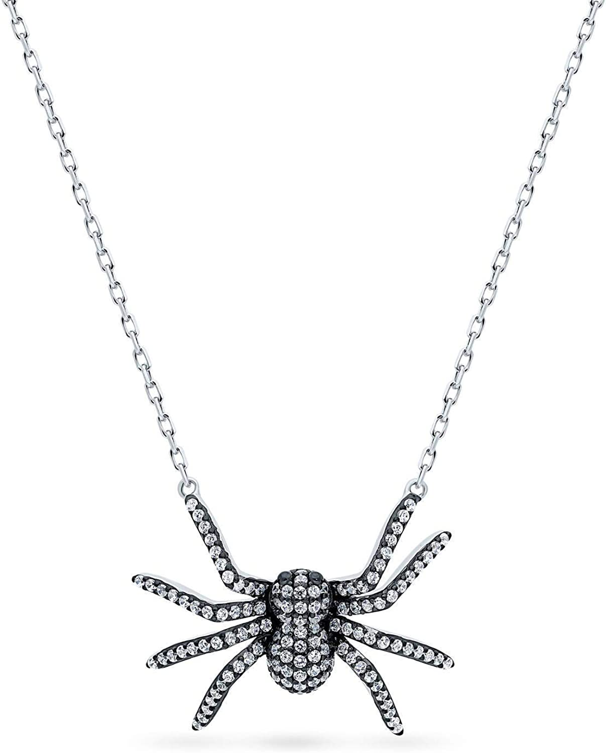 BERRICLE Rhodium Plated Sterling Silver Cubic Zirconia CZ Spider Fashion Pendant Necklace