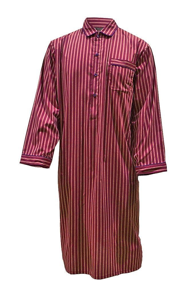 Camicia da Notte in Puro Cotone a Righe, Bordeaux - Uomo