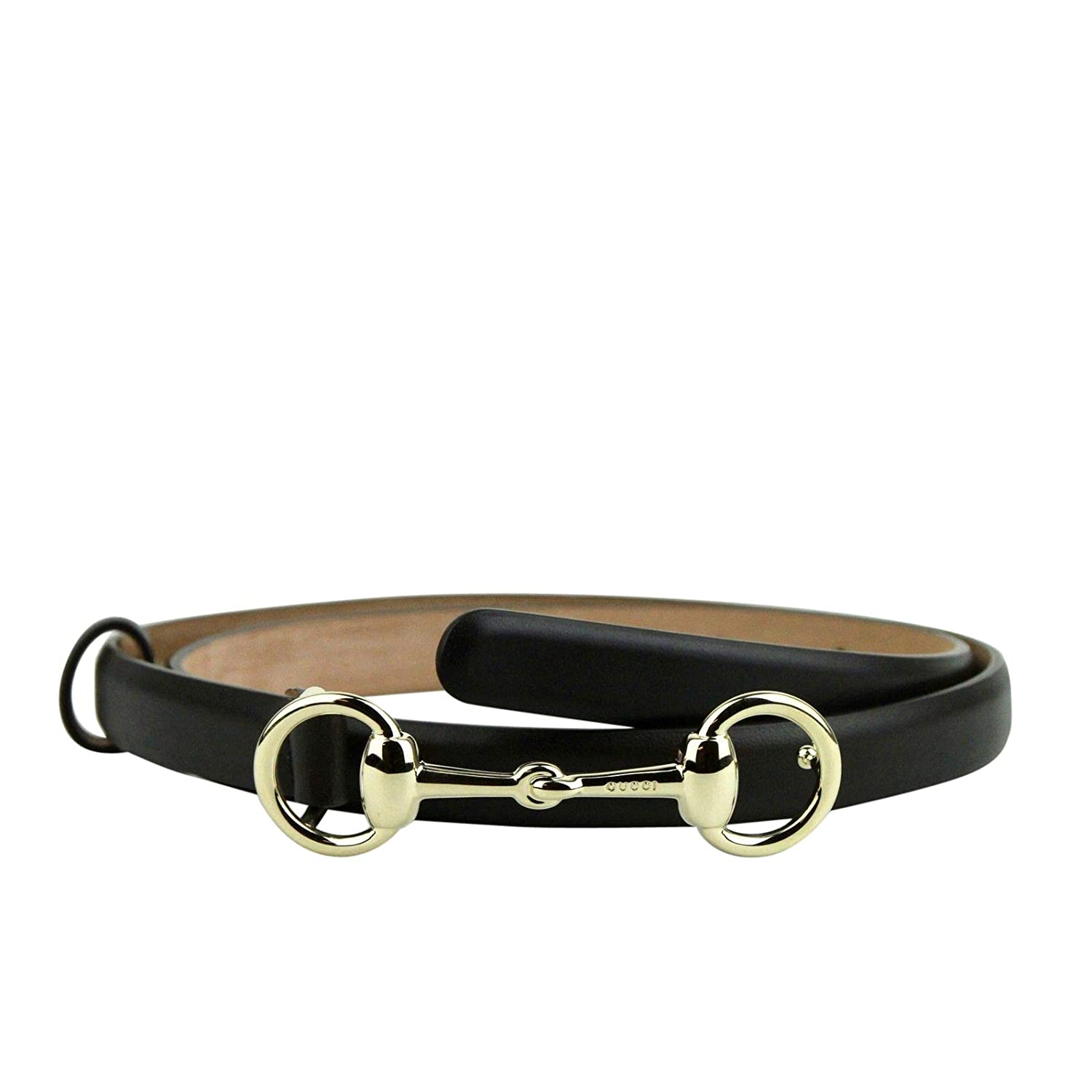 a8f0493a013 Amazon.com  Gucci Women s Gold Horsebit Buckle Cocoa Brown Leather Skinny  Belt 282349 2140  Clothing