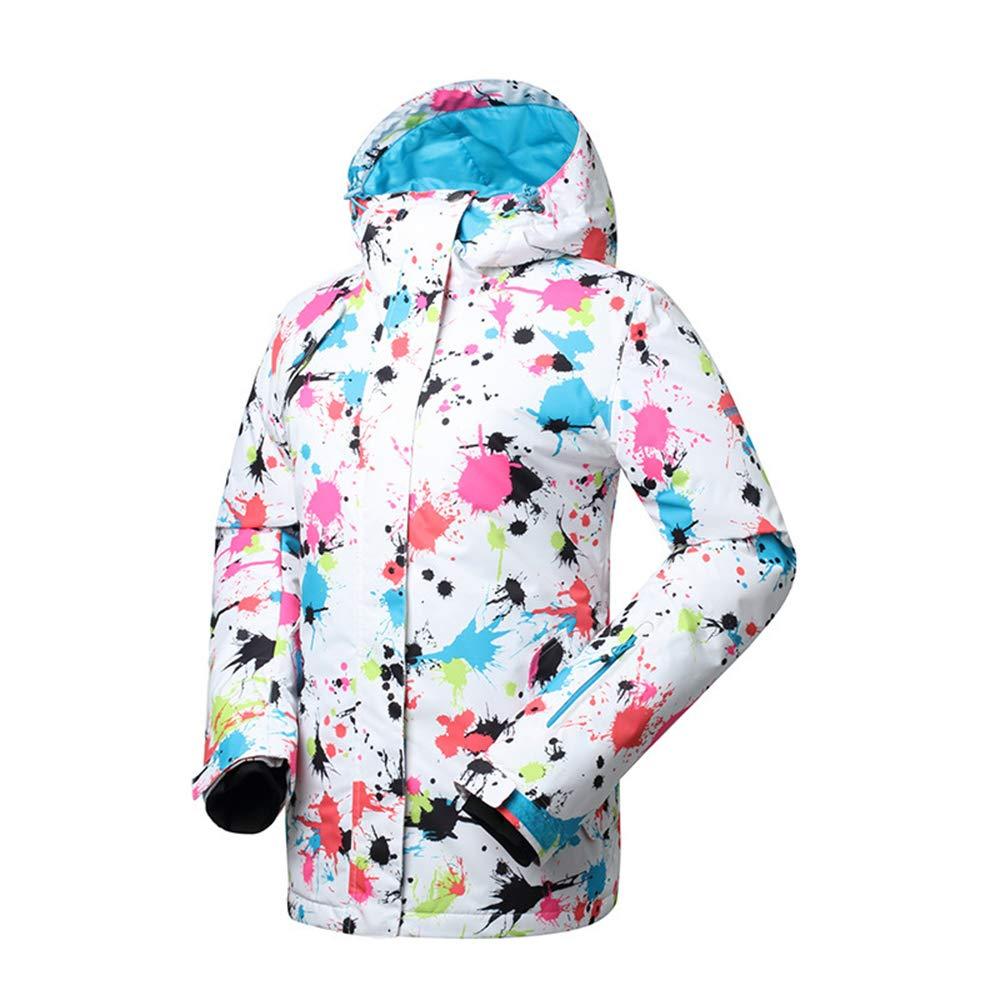 HXFFLYLY Women's Waterproof Jacket, Windproof Ski rain Jacket, Winter Warm Jacket with Cap, Breathable Raincoat, Hiking, Leisure, Multi-pocket Outdoor Jacket