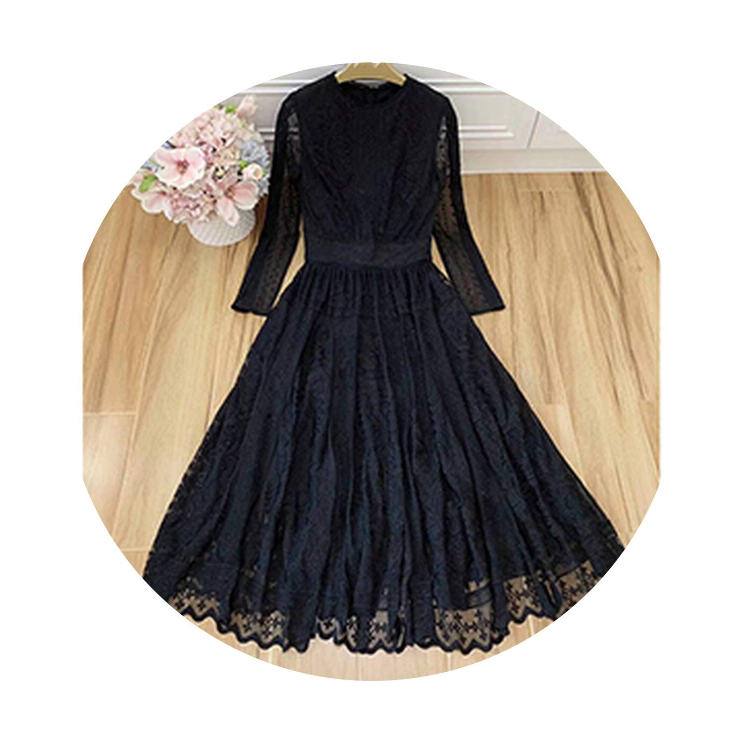 Black Pinkstar Embroidery Mesh Dresses ONeck Hollow Out ONeck Temperament Big Pendulum Dress