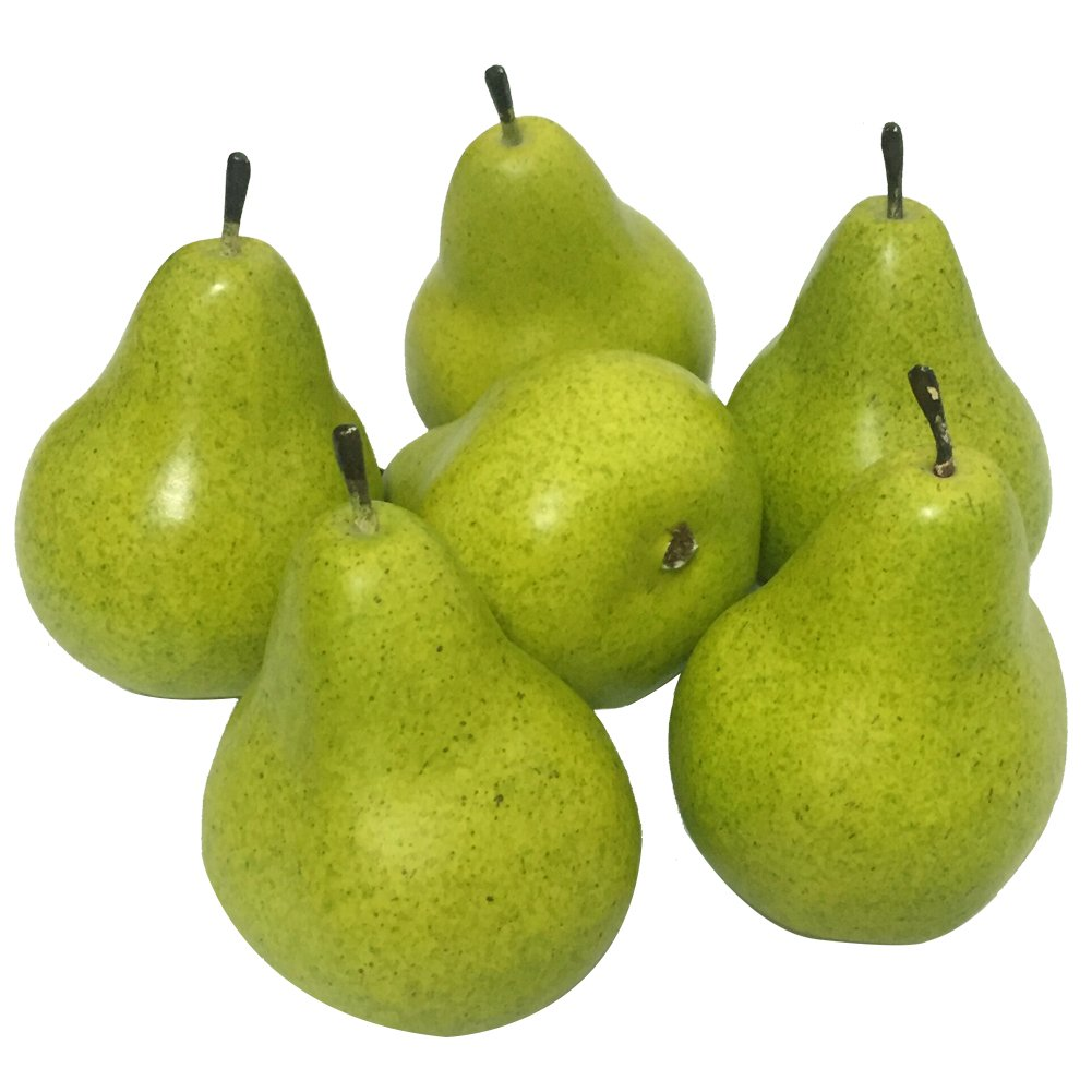 Jing-Rise 6pcs Fake Pear Artificial Fruits Vivid Green Pear For Home Fruit Shop Supermarket Desk Office Restaurant Decorations Or Props (Green)