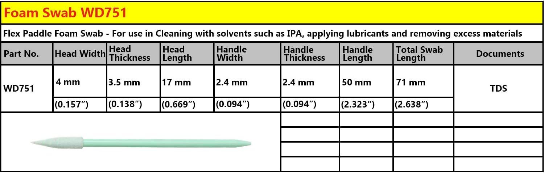 Whitedrop 100 PCS Tamponi di pulizia in schiuma per la lente della fotocamera ottica della stampante a getto dinchiostro Testa a punta WDF751