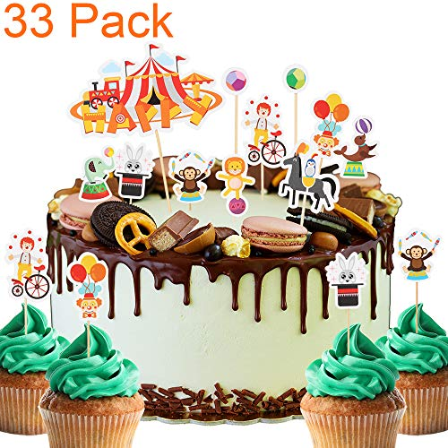 33 Pack Zoo Circus Carnival Animal Themed Cupcake Toppers For Baby Shower Kids Birthday Cake Fruit Doughnut Biscuits Party Toothpick Decorations.