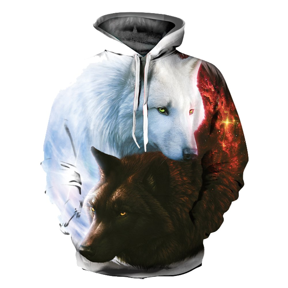 OYABEAUTY Unisex Realistic 3d Print Galaxy Pullover Hoodie Hooded Sweatshirt (Small/Medium, Wolf T)