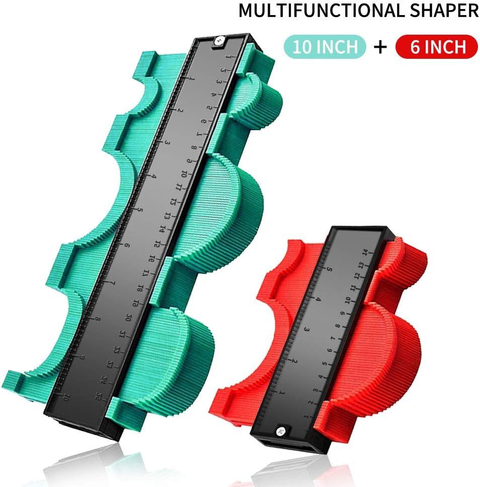 TTMOW Medidor de Contornos 25CM Verde, 14CM Rojo 2 Piezas Juego de Medidor de Perfil,Medir Forma Irregular Medidor de Perfil de Calibre Bricolaje