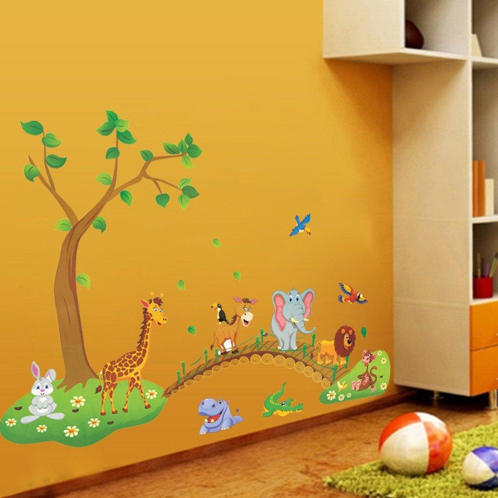 Motifs animaux de la jungle sur un pont Zooarts Autocollant mural amovible en vinyle